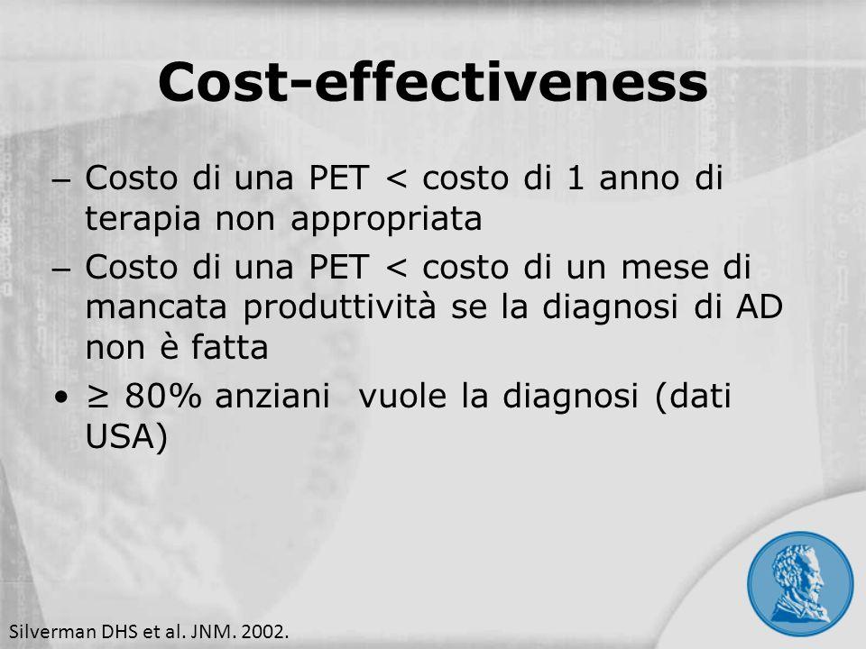 – Costo di una PET < costo di 1 anno di terapia non appropriata – Costo di una PET < costo di un mese di mancata produttività se la diagnosi di AD non