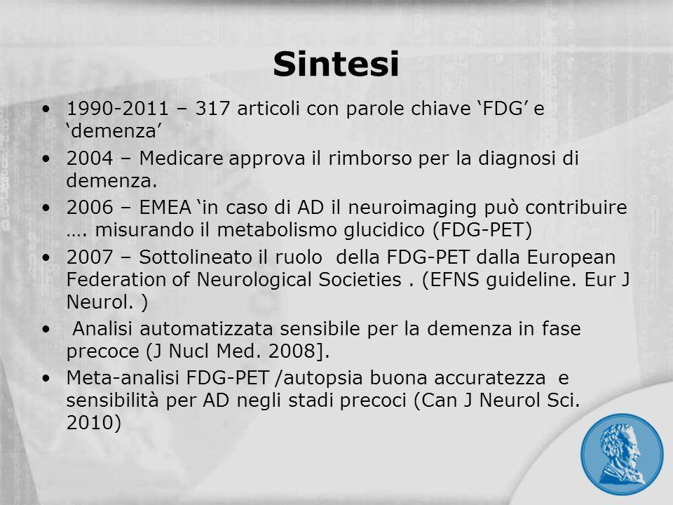 Sintesi 1990-2011 – 317 articoli con parole chiave FDG e demenza 2004 – Medicare approva il rimborso per la diagnosi di demenza. 2006 – EMEA in caso d