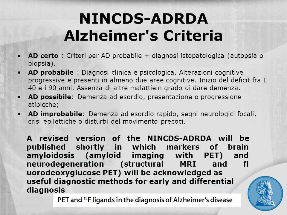 NINCDS-ADRDA Alzheimer's Criteria AD certo : Criteri per AD probabile + diagnosi istopatologica (autopsia o biopsia). AD probabile : Diagnosi clinica
