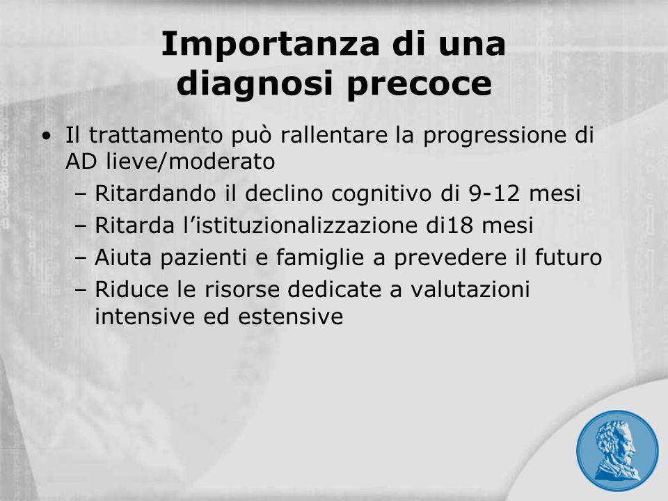 Importanza di una diagnosi precoce Il trattamento può rallentare la progressione di AD lieve/moderato –Ritardando il declino cognitivo di 9-12 mesi –R