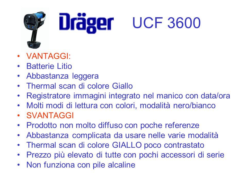 VANTAGGI: Batterie Litio Abbastanza leggera Thermal scan di colore Giallo Registratore immagini integrato nel manico con data/ora Molti modi di lettur