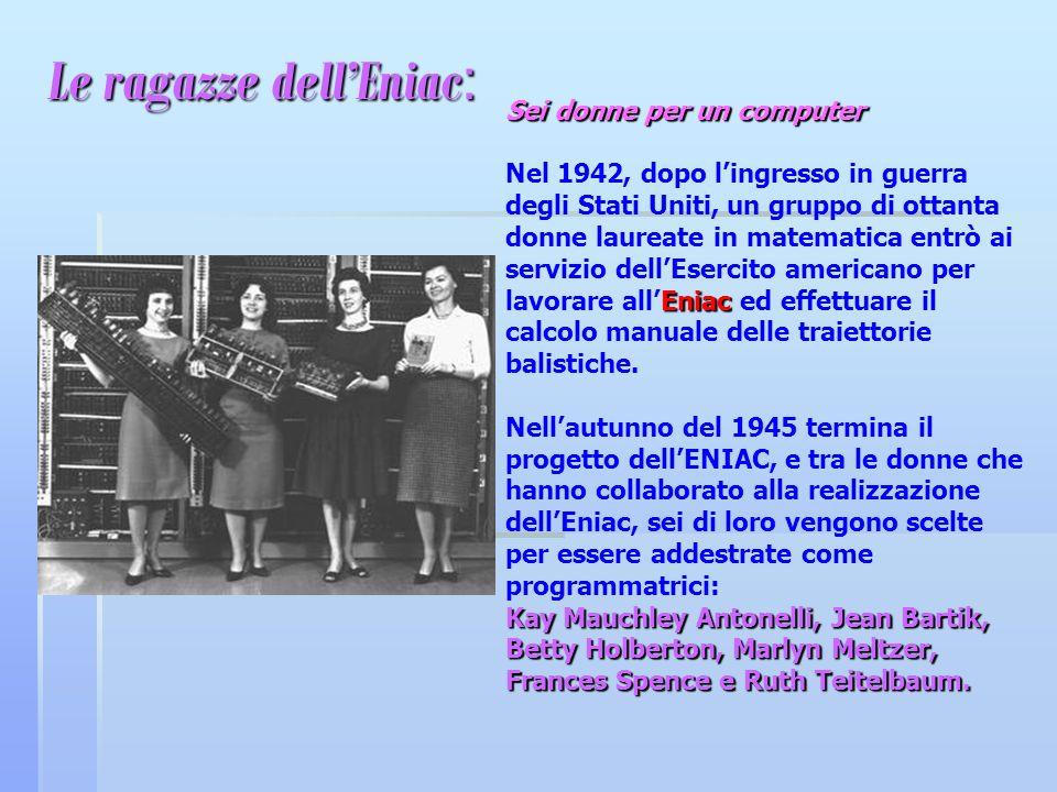 Le ragazze dellEniac : Sei donne per un computer Sei donne per un computer Eniac Nel 1942, dopo lingresso in guerra degli Stati Uniti, un gruppo di ot