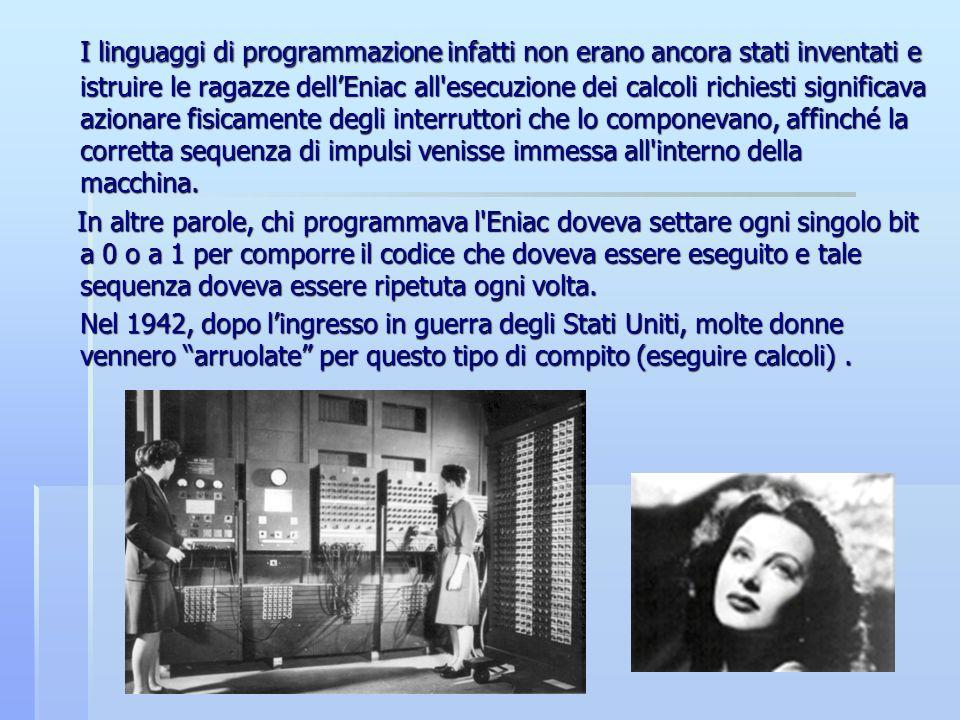 I linguaggi di programmazione infatti non erano ancora stati inventati e istruire le ragazze dellEniac all'esecuzione dei calcoli richiesti significav
