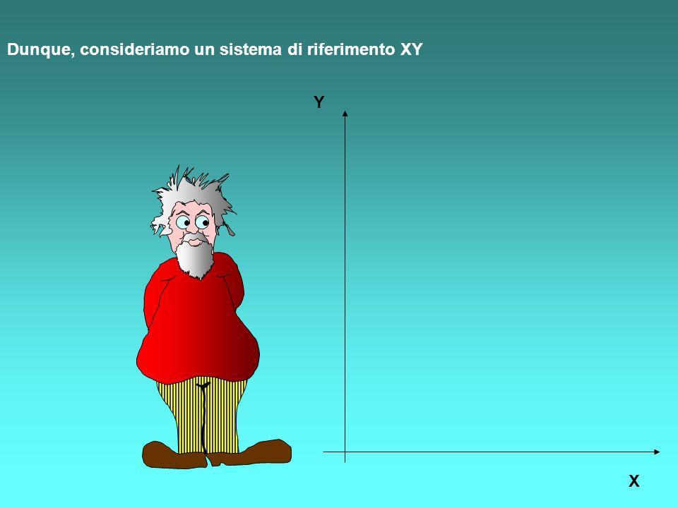 Dunque, consideriamo un sistema di riferimento XY Y X