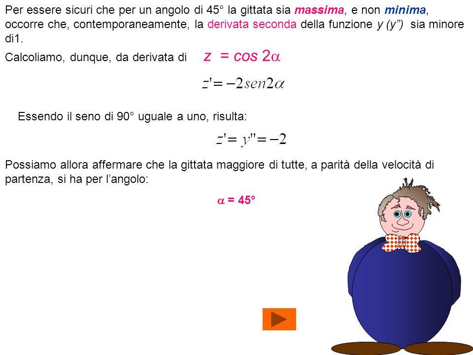 Per essere sicuri che per un angolo di 45° la gittata sia massima, e non minima, occorre che, contemporaneamente, la derivata seconda della funzione y