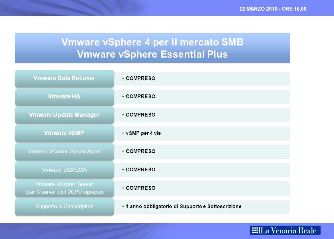 22 MARZO 2010 - ORE 15,00 COMPRESO Vmware Data Recover COMPRESO Vmware HA COMPRESO Vmware Update Manager vSMP per 4 vie Vmware vSMP COMPRESO Vmware vCenter Server Agent COMPRESO Vmware ESX/ESXi COMPRESO Vmware vCenter Server (per 3 server con 2CPU ognuna) 1 anno obbligatorio di Supporto e Sottoscrizione Supporto e Subscription Vmware vSphere 4 per il mercato SMB Vmware vSphere Essential Plus Vmware vSphere 4 per il mercato SMB Vmware vSphere Essential Plus