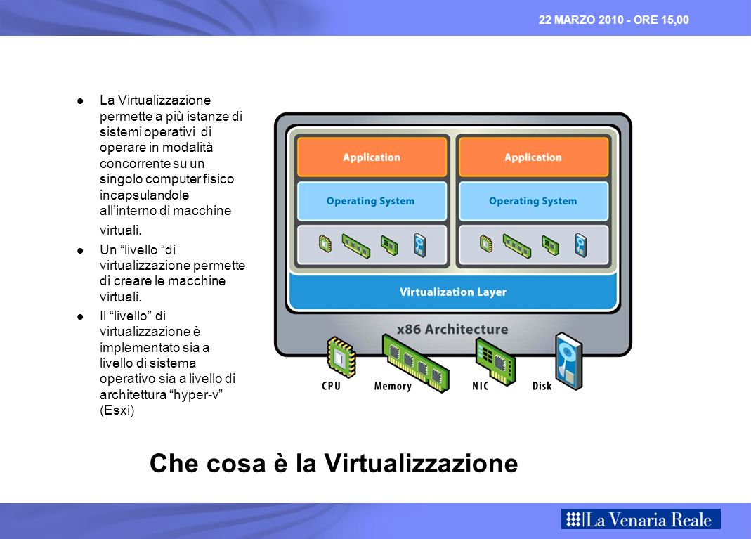 22 MARZO 2010 - ORE 15,00 High Availability STANDARD ENTERPRISE PLUS VMware ESXi OR VMware ESX 4-way vSMP VC Agent 6 Physical Cores / CPU 256 GB Physical Memory VMotion High Availability VMware ESXi OR VMware ESX 4-way vSMP VC Agent 12 Physical Cores / CPU 256 GB Physical Memory ADVANCED Fault Tolerance Data Recovery vShield Zones VMotion High Availability VMware ESXi OR VMware ESX 8-way vSMP VC Agent 12 Physical Cores / CPU No License Memory Limit Fault Tolerance Data Recovery vShield Zones Distributed Switch DRS / DPM Storage VMotion Host Profiles High availability products for protecting critical production applications Basic consolidation of a lab or small environment Large scale management of critical production applications VMotion High Availability VMware ESXi OR VMware ESX 4-way vSMP VC Agent 6 Physical Cores / CPU 256 GB Physical Memory ENTERPRISE Fault Tolerance Data Recovery vShield Zones DRS / DPM Storage VMotion Update Manager Thin Provisioning VCB / vStorage APIs Hot Add Multi-pathing APIs
