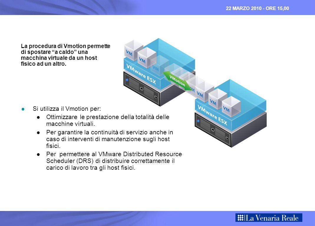 22 MARZO 2010 - ORE 15,00 Si utilizza il Vmotion per: Si utilizza il Vmotion per: Ottimizzare le prestazione della totalità delle macchine virtuali.