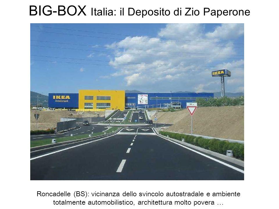 BIG-BOX Italia: il Deposito di Zio Paperone Roncadelle (BS): vicinanza dello svincolo autostradale e ambiente totalmente automobilistico, architettura