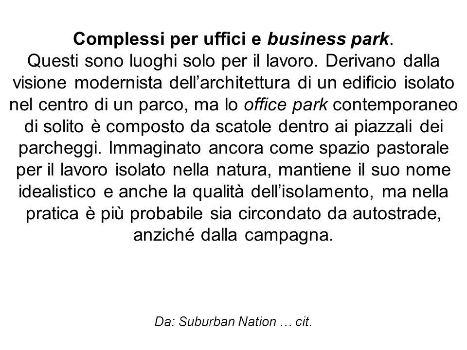 Complessi per uffici e business park. Questi sono luoghi solo per il lavoro. Derivano dalla visione modernista dellarchitettura di un edificio isolato