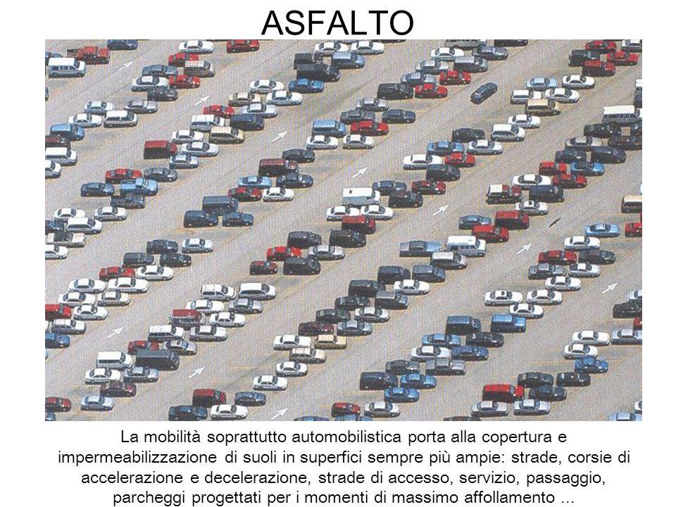 ASFALTO La mobilità soprattutto automobilistica porta alla copertura e impermeabilizzazione di suoli in superfici sempre più ampie: strade, corsie di