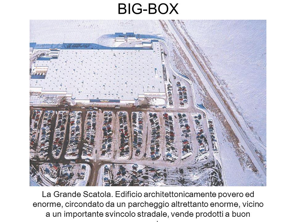 BIG-BOX La Grande Scatola. Edificio architettonicamente povero ed enorme, circondato da un parcheggio altrettanto enorme, vicino a un importante svinc