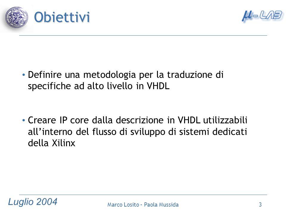 Luglio 2004 Marco Losito – Paola Mussida14 Caso di studio: Calcolo del percorso critico Studio delle specifiche Descrizione in linguaggio ad alto livello Stesura di diagrammi ASM Traduzione in VHDL Sintesi Verifica e Simulazione