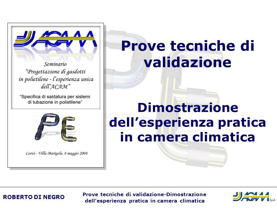 Controllo dei materiali ROBERTO DI NEGRO Prove tecniche di validazione-Dimostrazione dellesperienza pratica in camera climatica