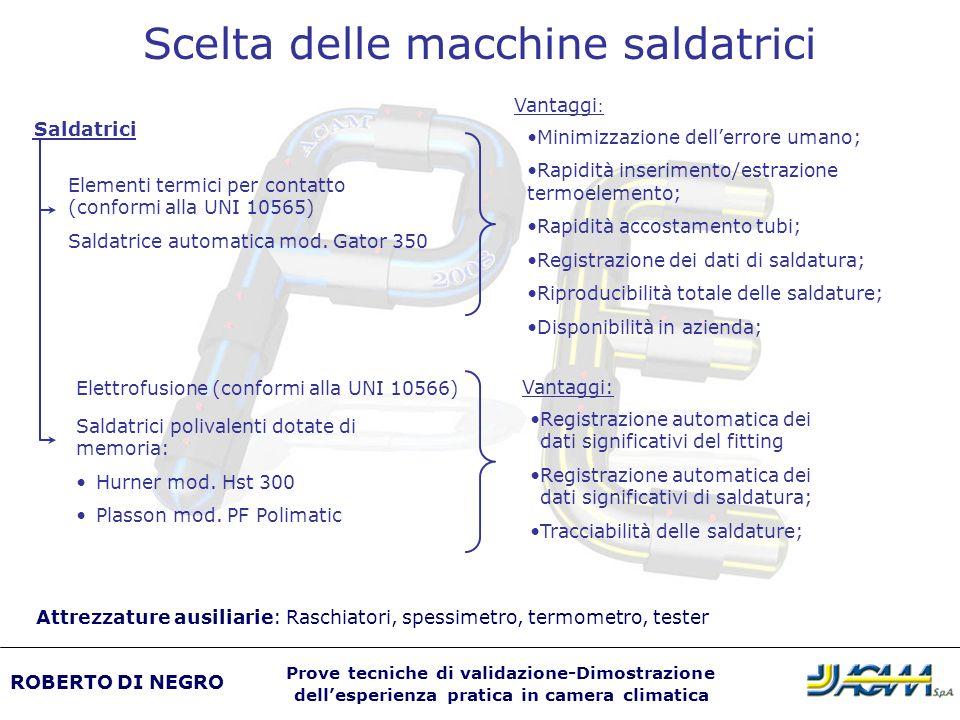 Minimizzazione dellerrore umano; Rapidità inserimento/estrazione termoelemento; Rapidità accostamento tubi; Registrazione dei dati di saldatura; Ripro