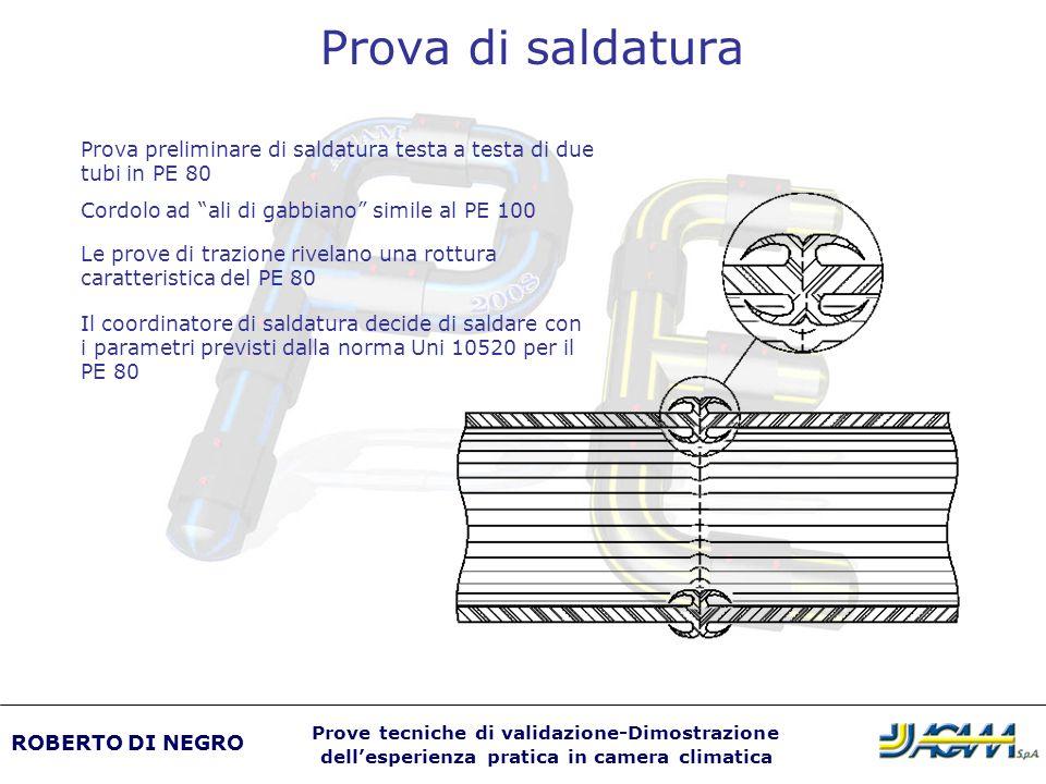 Prova di saldatura Prova preliminare di saldatura testa a testa di due tubi in PE 80 Cordolo ad ali di gabbiano simile al PE 100 Le prove di trazione