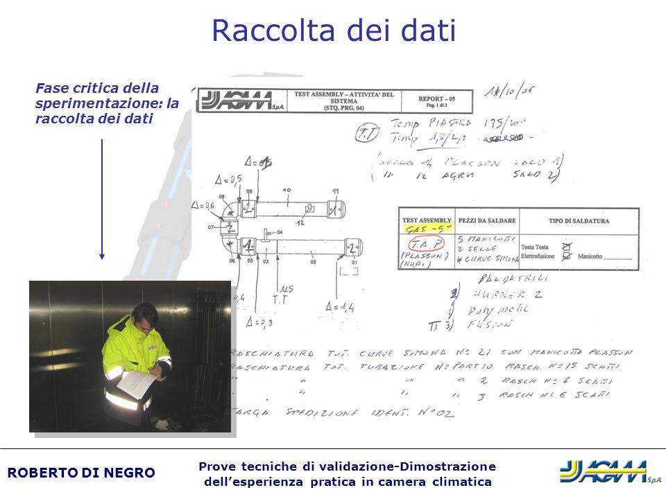 Raccolta dei dati Fase critica della sperimentazione: la raccolta dei dati ROBERTO DI NEGRO Prove tecniche di validazione-Dimostrazione dellesperienza