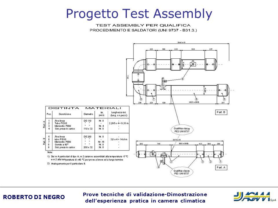 Progetto Test Assembly ROBERTO DI NEGRO Prove tecniche di validazione-Dimostrazione dellesperienza pratica in camera climatica