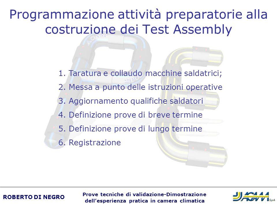 Programmazione attività preparatorie alla costruzione dei Test Assembly ROBERTO DI NEGRO Prove tecniche di validazione-Dimostrazione dellesperienza pr