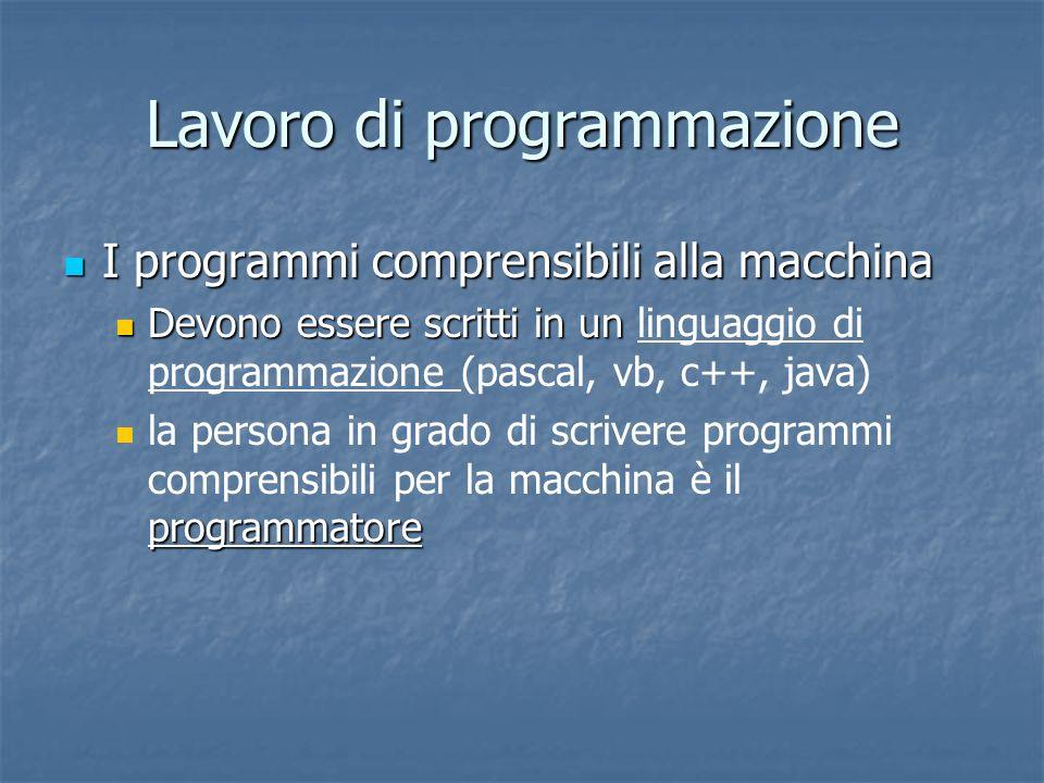 Lavoro di programmazione I programmi comprensibili alla macchina I programmi comprensibili alla macchina Devono essere scritti in un Devono essere scr