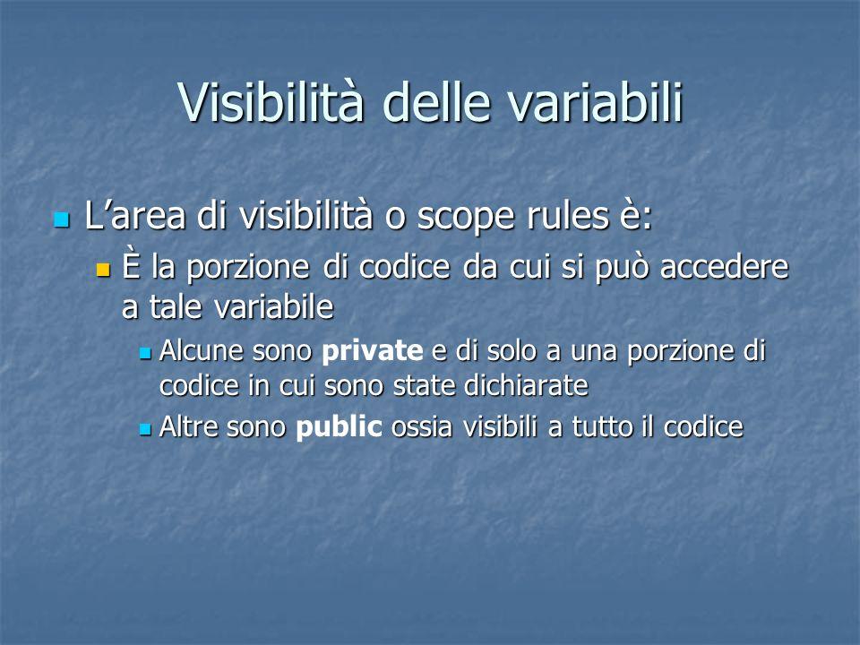 Visibilità delle variabili Larea di visibilità o scope rules è: Larea di visibilità o scope rules è: È la porzione di codice da cui si può accedere a