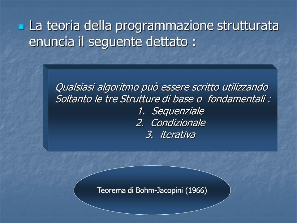 La teoria della programmazione strutturata enuncia il seguente dettato : La teoria della programmazione strutturata enuncia il seguente dettato : Qual