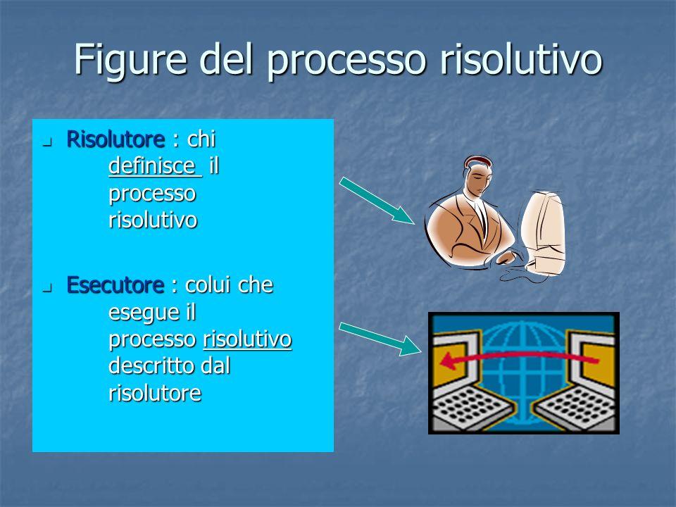 Figure del processo risolutivo Risolutore : chi definisce il processo risolutivo Risolutore : chi definisce il processo risolutivo Esecutore : colui c