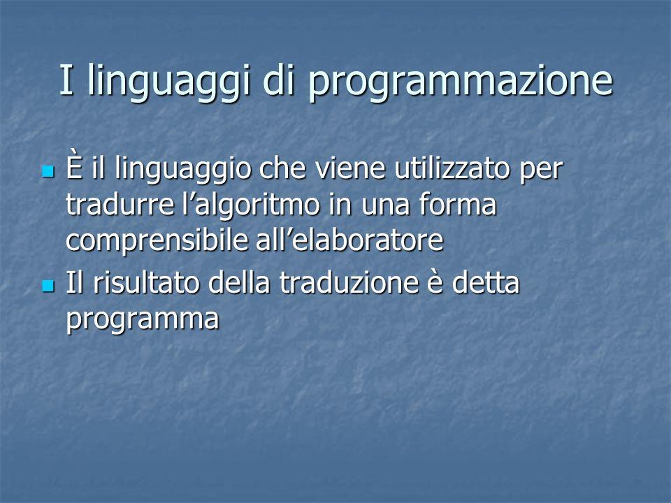 I linguaggi di programmazione È il linguaggio che viene utilizzato per tradurre lalgoritmo in una forma comprensibile allelaboratore È il linguaggio c