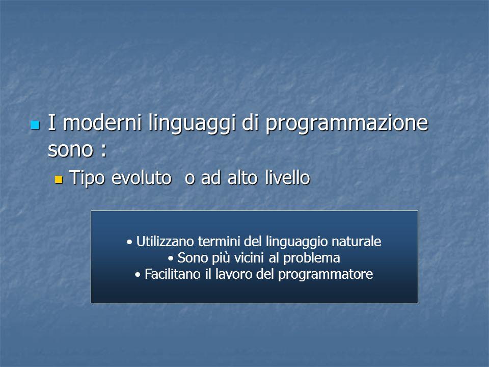 I moderni linguaggi di programmazione sono : I moderni linguaggi di programmazione sono : Tipo evoluto o ad alto livello Tipo evoluto o ad alto livell