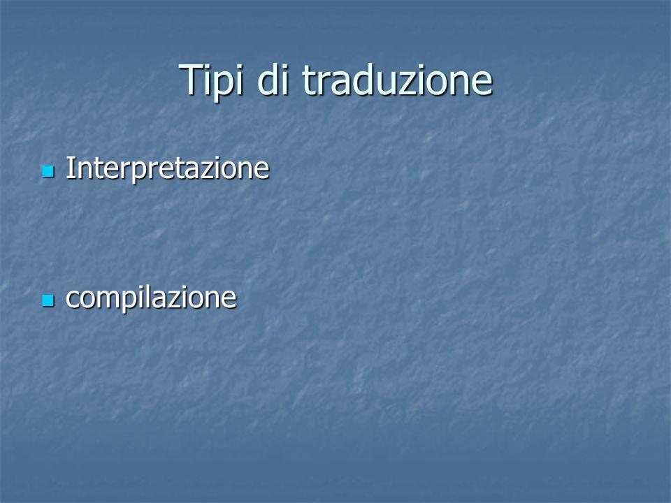 Tipi di traduzione Interpretazione Interpretazione compilazione compilazione