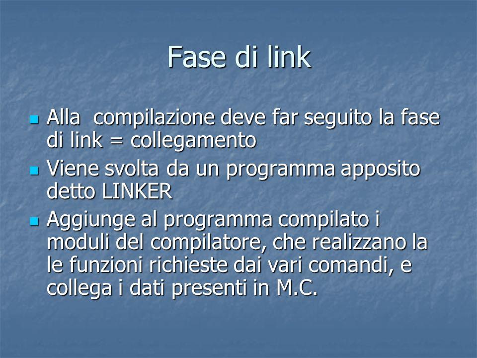 Fase di link Alla compilazione deve far seguito la fase di link = collegamento Alla compilazione deve far seguito la fase di link = collegamento Viene