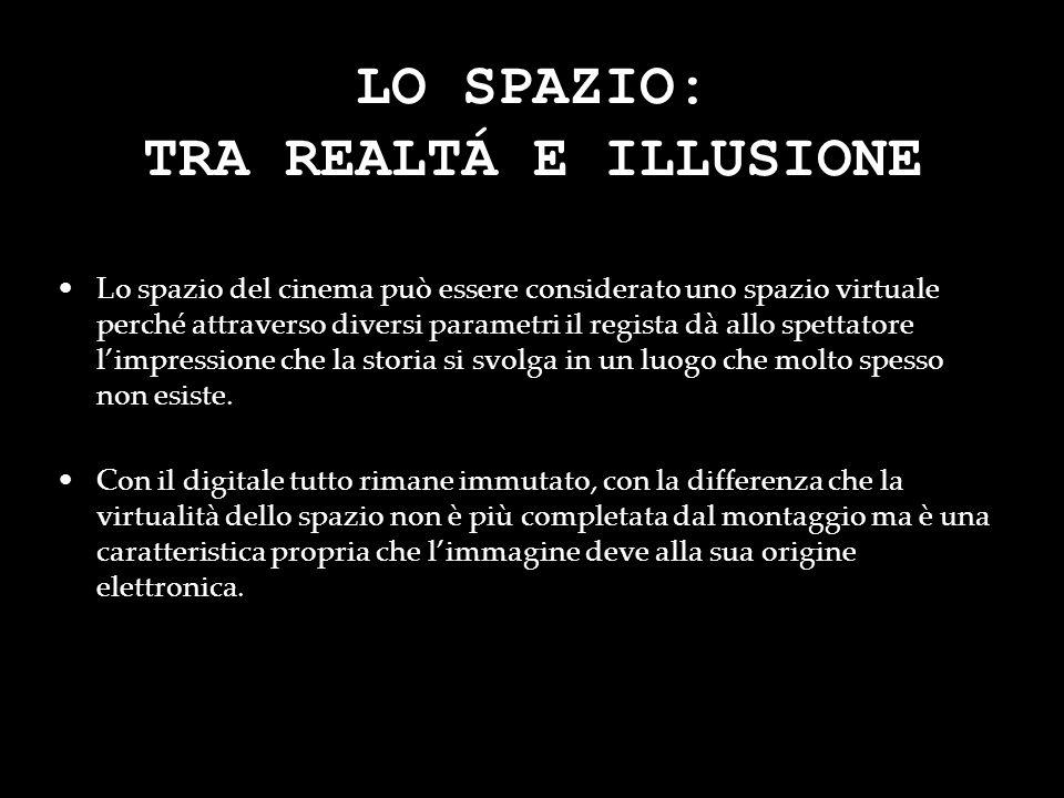LO SPAZIO: TRA REALTÁ E ILLUSIONE Lo spazio del cinema può essere considerato uno spazio virtuale perché attraverso diversi parametri il regista dà al