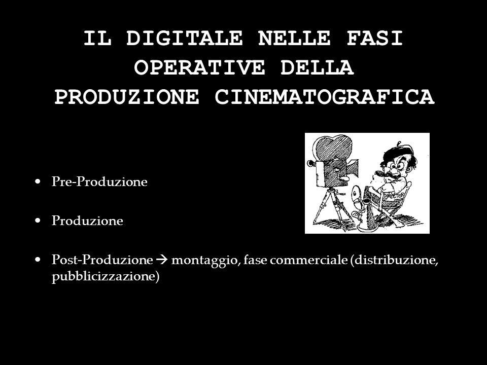 IL DIGITALE NELLE FASI OPERATIVE DELLA PRODUZIONE CINEMATOGRAFICA Pre-Produzione Produzione Post-Produzione montaggio, fase commerciale (distribuzione