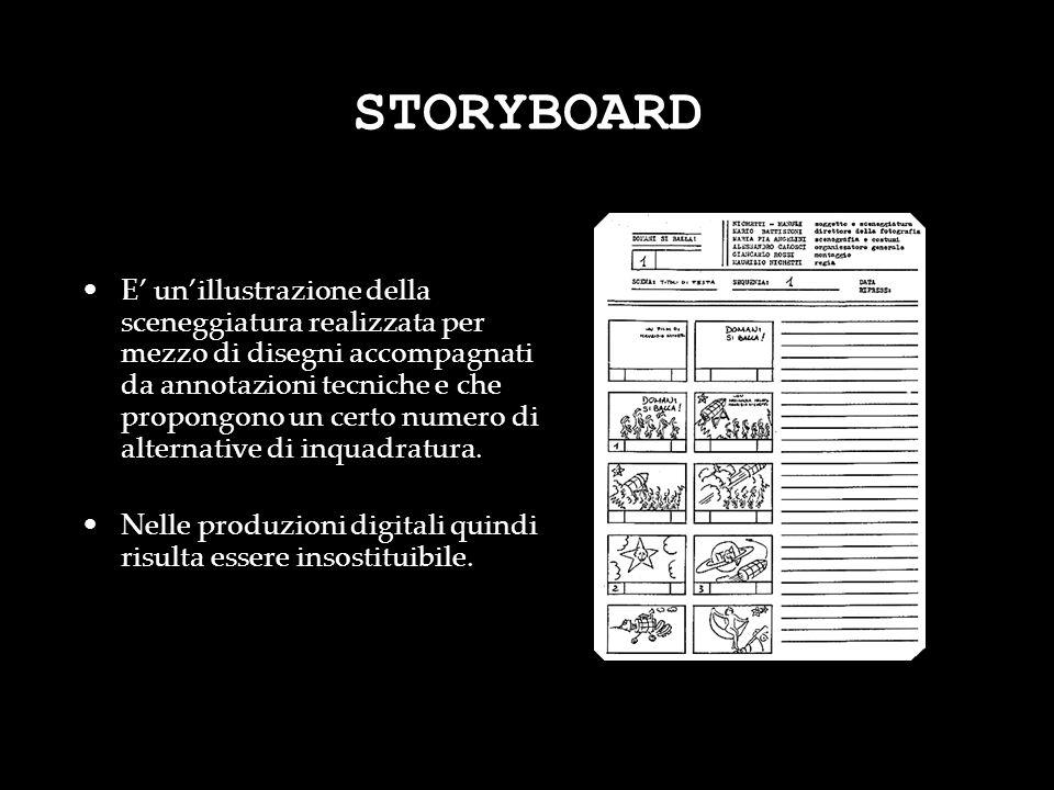 STORYBOARD E unillustrazione della sceneggiatura realizzata per mezzo di disegni accompagnati da annotazioni tecniche e che propongono un certo numero