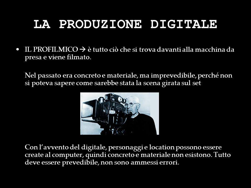 LA PRODUZIONE DIGITALE IL PROFILMICO è tutto ciò che si trova davanti alla macchina da presa e viene filmato. Nel passato era concreto e materiale, ma