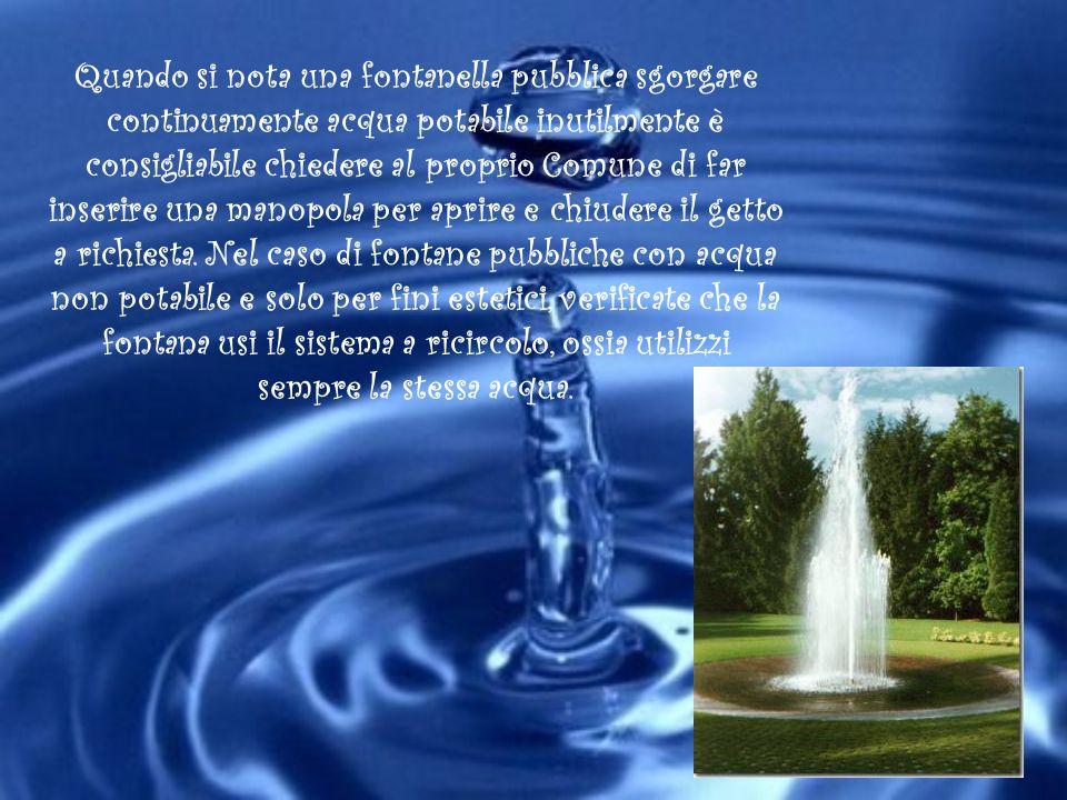 Quando si nota una fontanella pubblica sgorgare continuamente acqua potabile inutilmente è consigliabile chiedere al proprio Comune di far inserire un