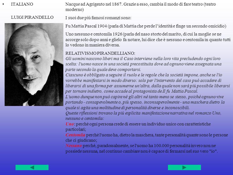 ITALIANO LUIGI PIRANDELLO Nacque ad Agrigento nel 1867.