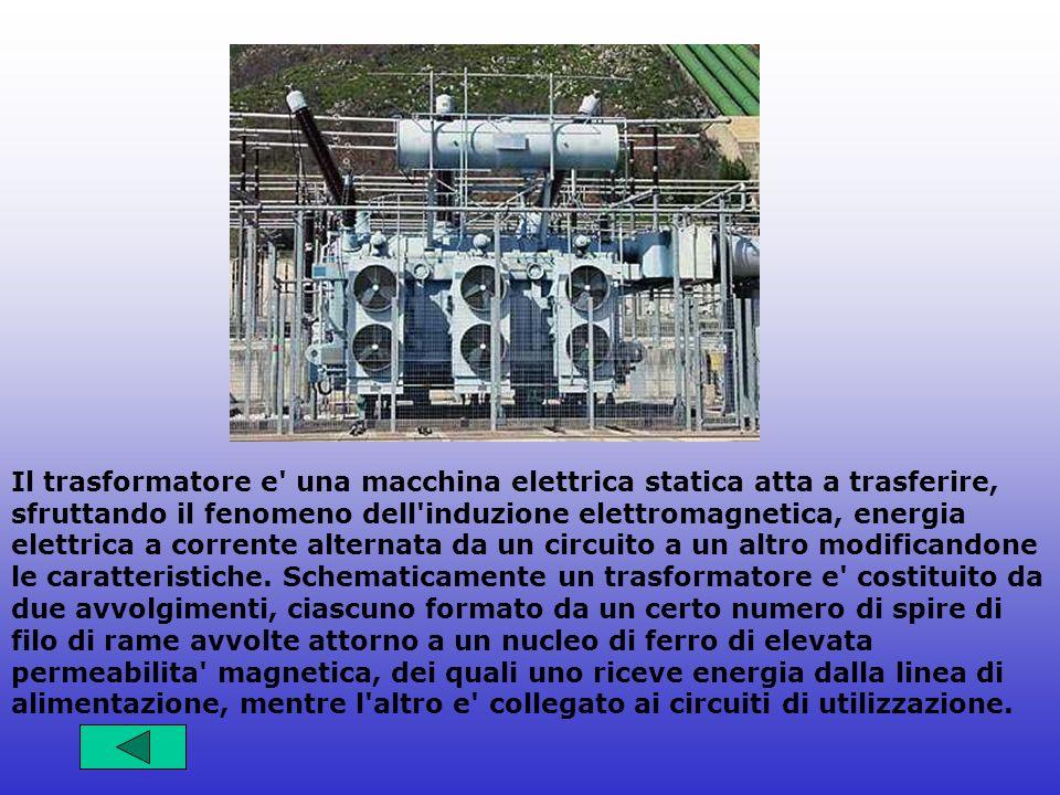 Il trasformatore e una macchina elettrica statica atta a trasferire, sfruttando il fenomeno dell induzione elettromagnetica, energia elettrica a corrente alternata da un circuito a un altro modificandone le caratteristiche.