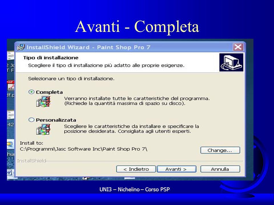 UNI3 – Nichelino – Corso PSP Avanti - Completa