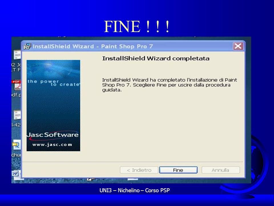 UNI3 – Nichelino – Corso PSP FINE ! ! !