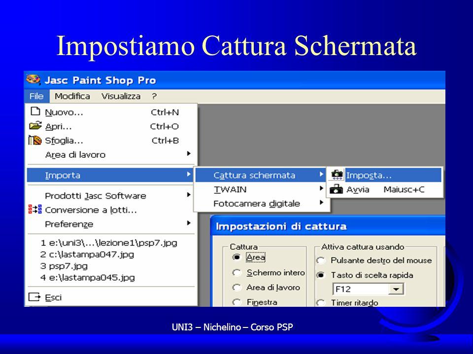 UNI3 – Nichelino – Corso PSP Impostiamo Cattura Schermata