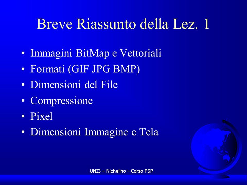 UNI3 – Nichelino – Corso PSP Breve Riassunto della Lez. 1 Immagini BitMap e Vettoriali Formati (GIF JPG BMP) Dimensioni del File Compressione Pixel Di