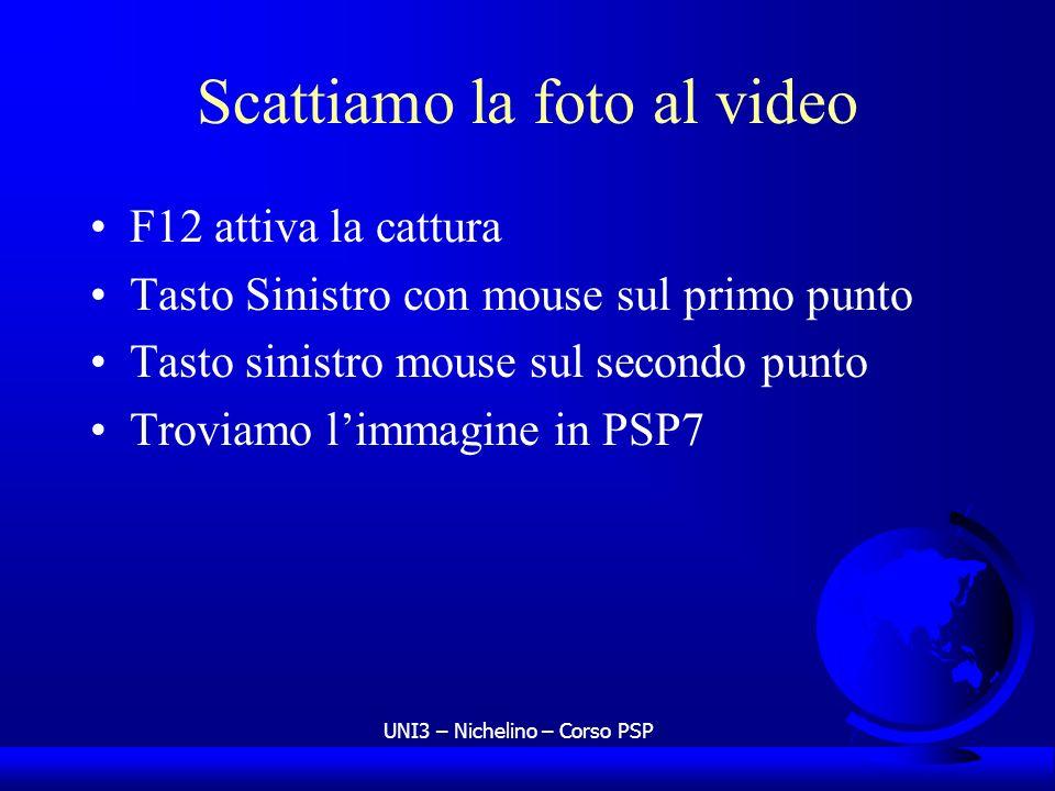 UNI3 – Nichelino – Corso PSP Scattiamo la foto al video F12 attiva la cattura Tasto Sinistro con mouse sul primo punto Tasto sinistro mouse sul second