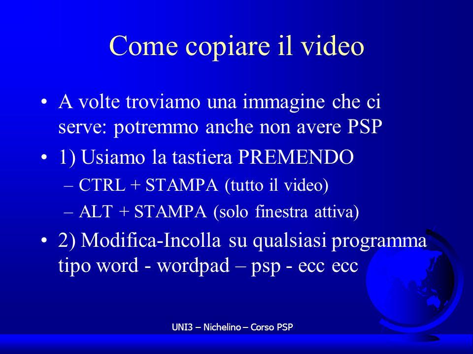 UNI3 – Nichelino – Corso PSP Come copiare il video A volte troviamo una immagine che ci serve: potremmo anche non avere PSP 1) Usiamo la tastiera PREM