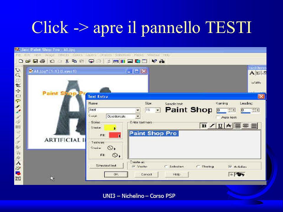 UNI3 – Nichelino – Corso PSP Click -> apre il pannello TESTI