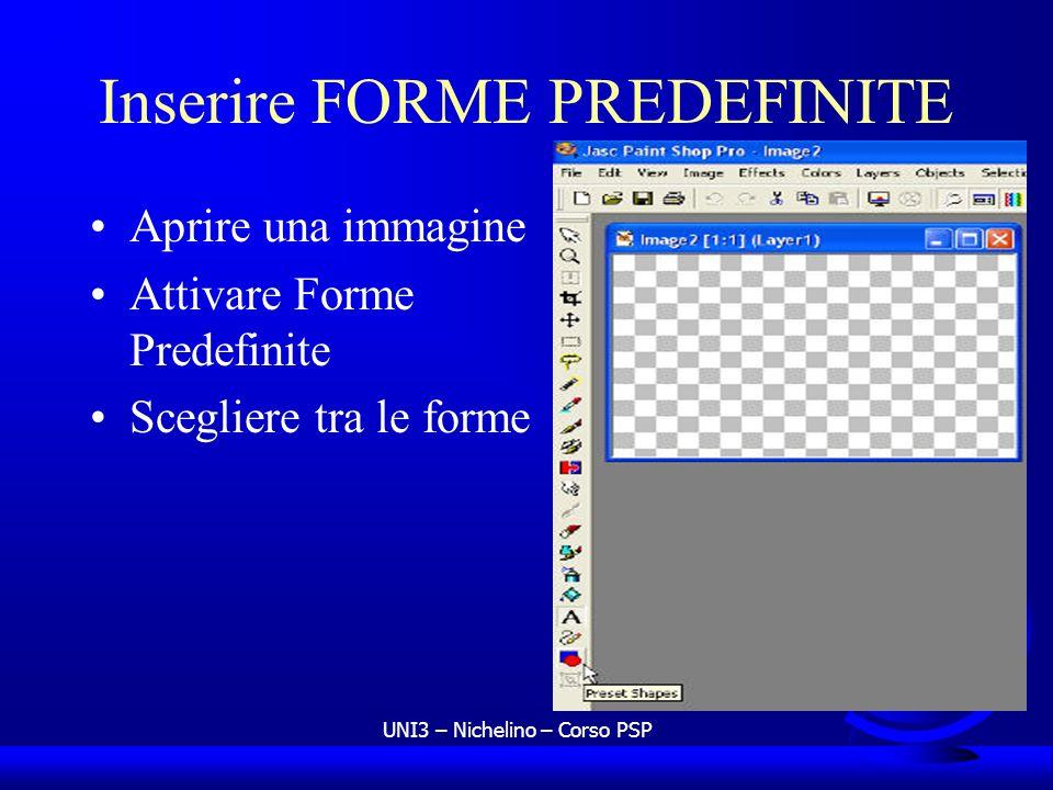UNI3 – Nichelino – Corso PSP Inserire FORME PREDEFINITE Aprire una immagine Attivare Forme Predefinite Scegliere tra le forme