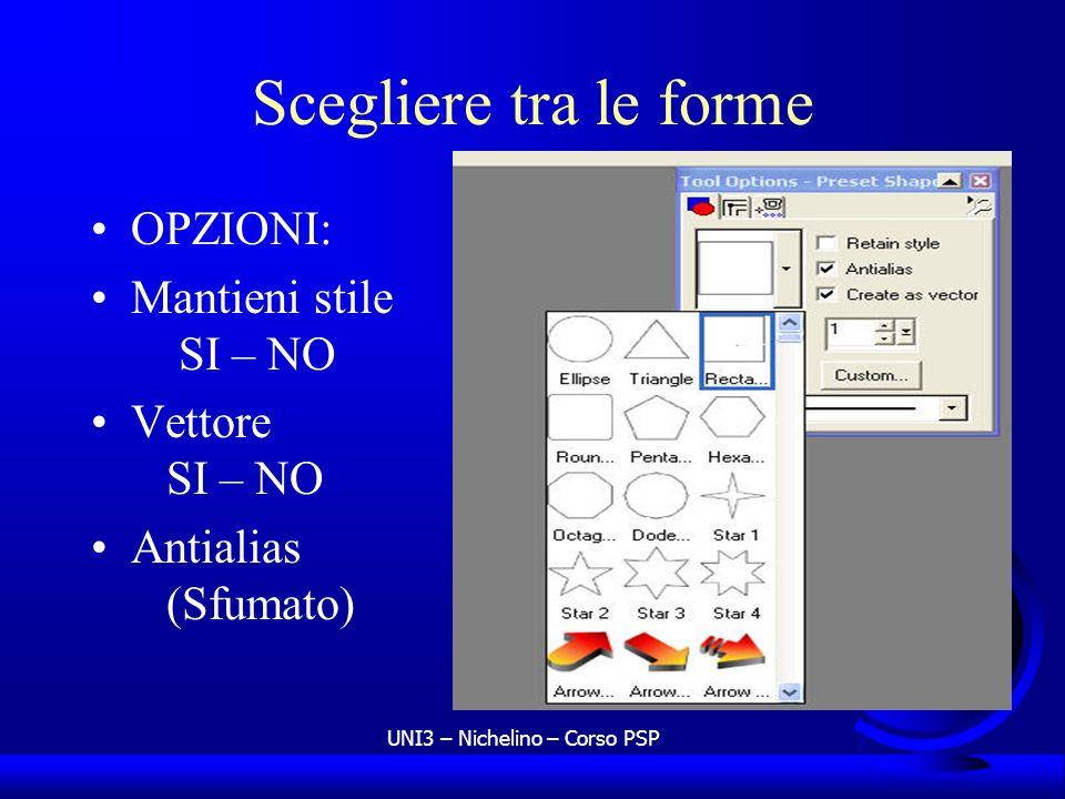 UNI3 – Nichelino – Corso PSP Scegliere tra le forme OPZIONI: Mantieni stile SI – NO Vettore SI – NO Antialias (Sfumato)