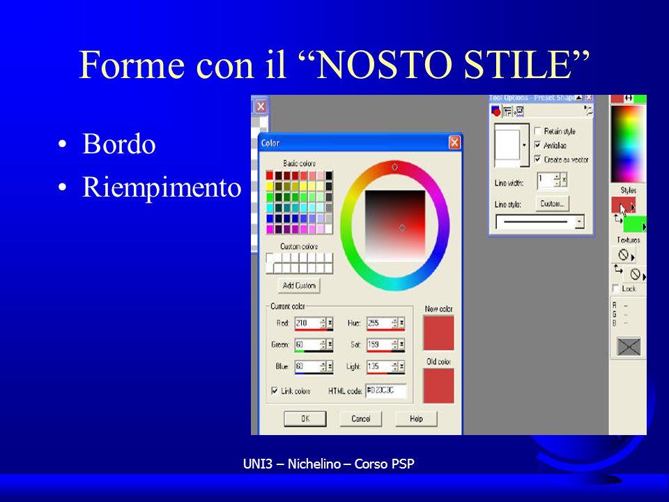 UNI3 – Nichelino – Corso PSP Forme con il NOSTO STILE Bordo Riempimento