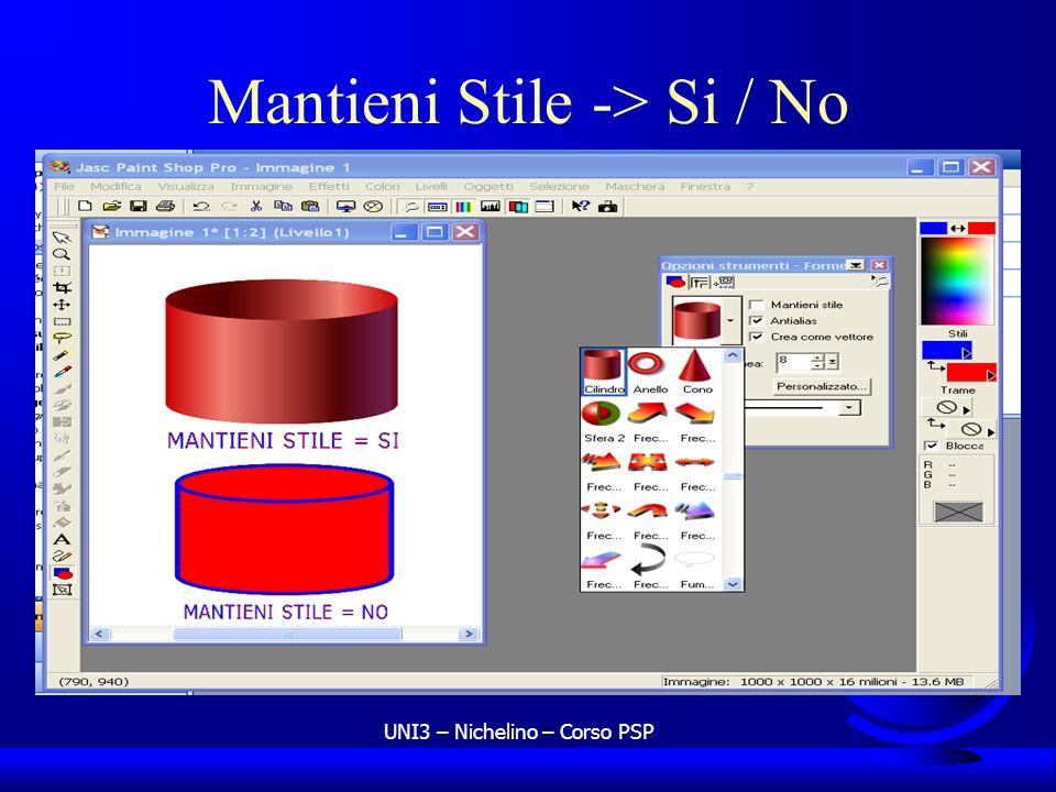 UNI3 – Nichelino – Corso PSP Mantieni Stile -> Si / No