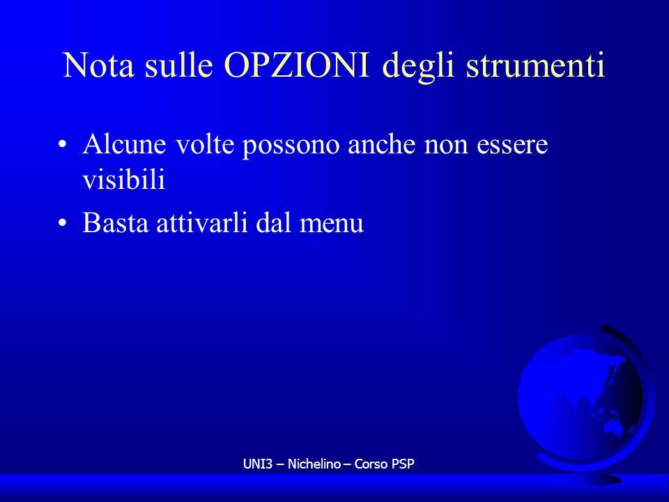UNI3 – Nichelino – Corso PSP Nota sulle OPZIONI degli strumenti Alcune volte possono anche non essere visibili Basta attivarli dal menu
